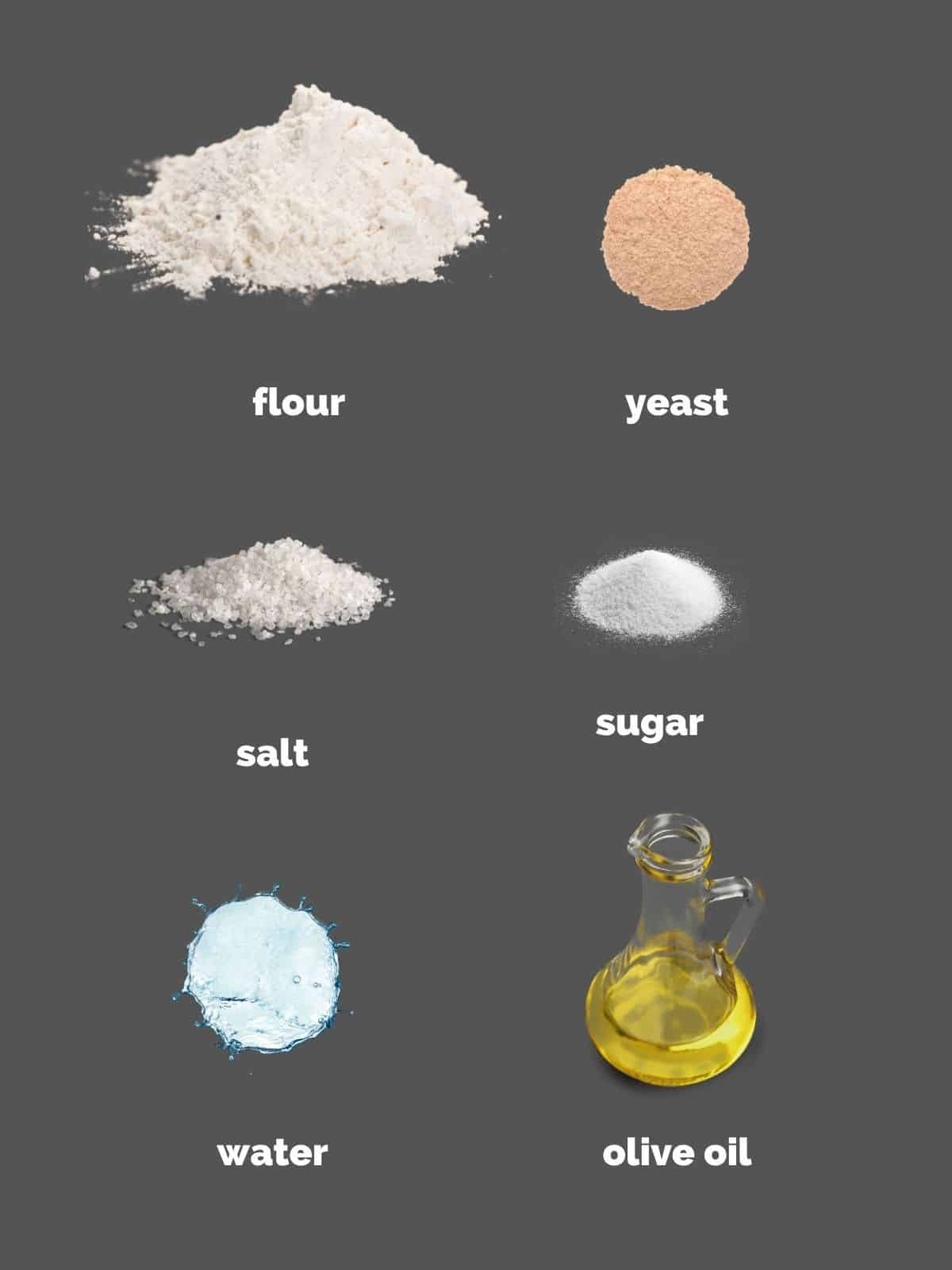 ingredients to make pizza crust