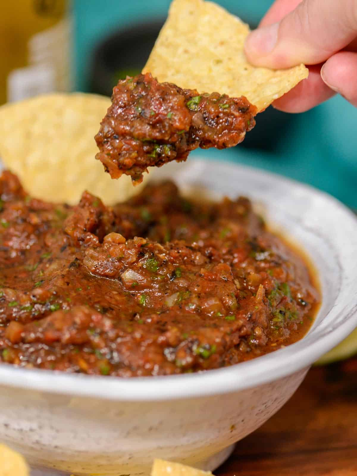 chips and fire roasted tomato salsa