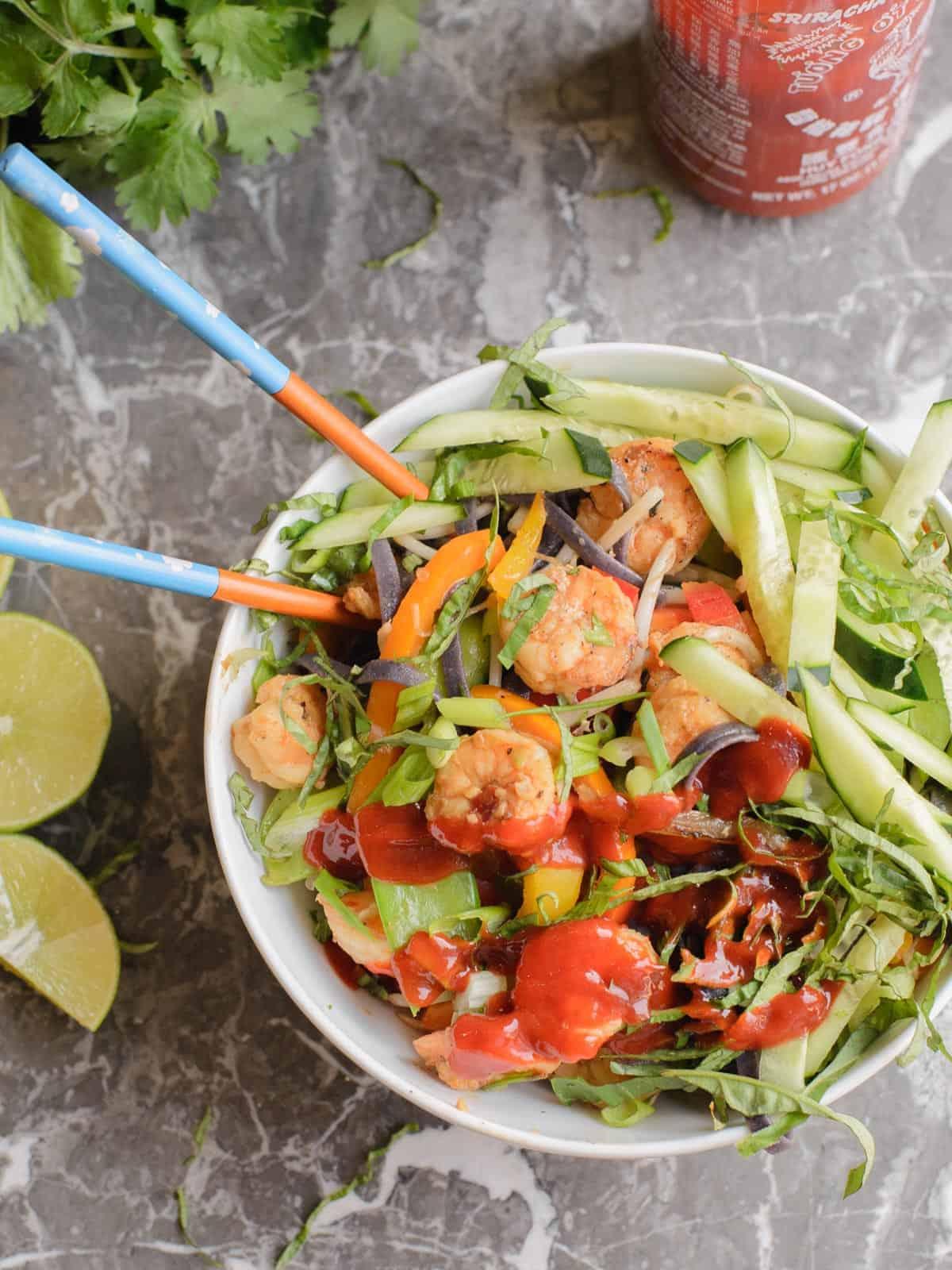 noodle bowls with spicy shrimp
