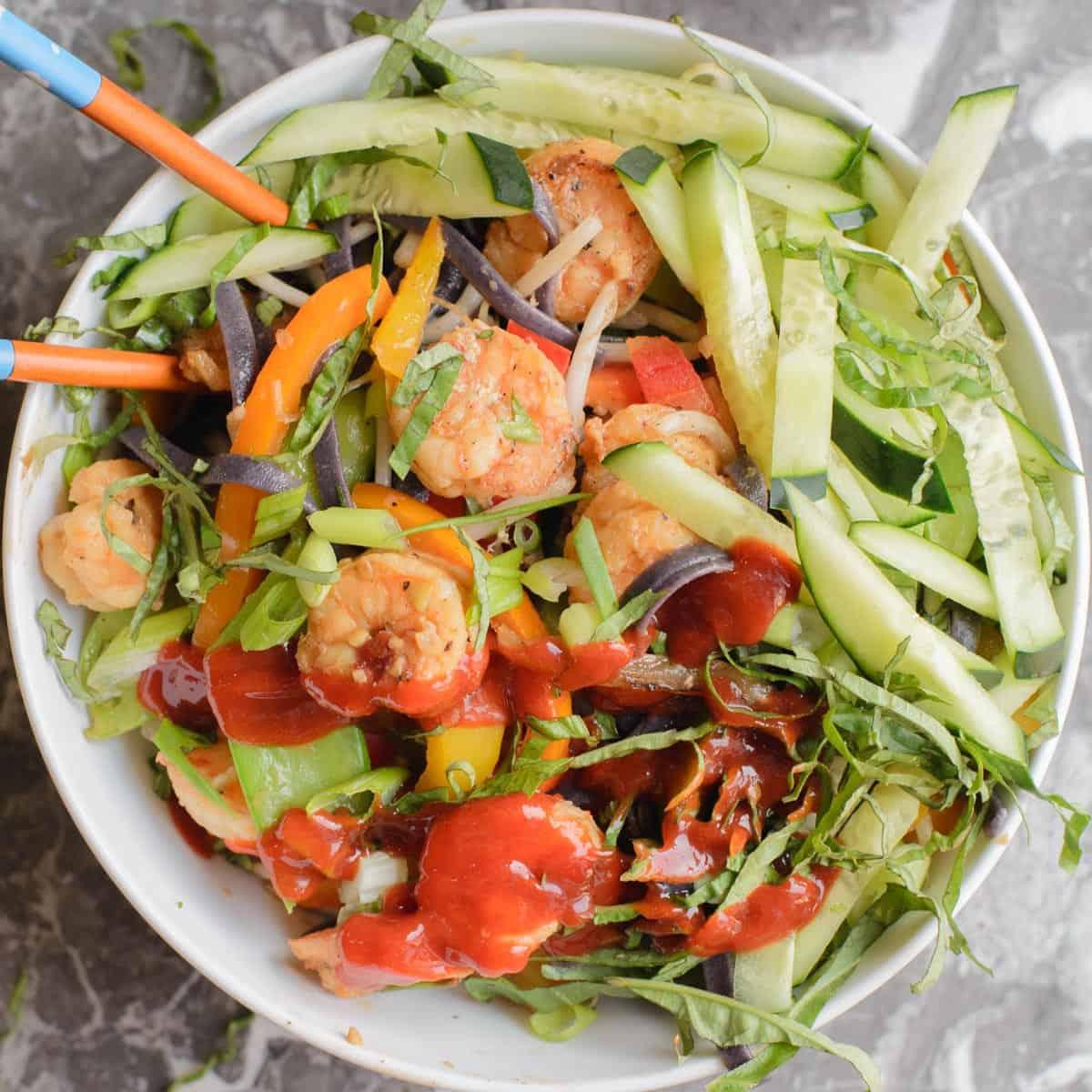 noodle bowls recipe with shrimp and sriracha