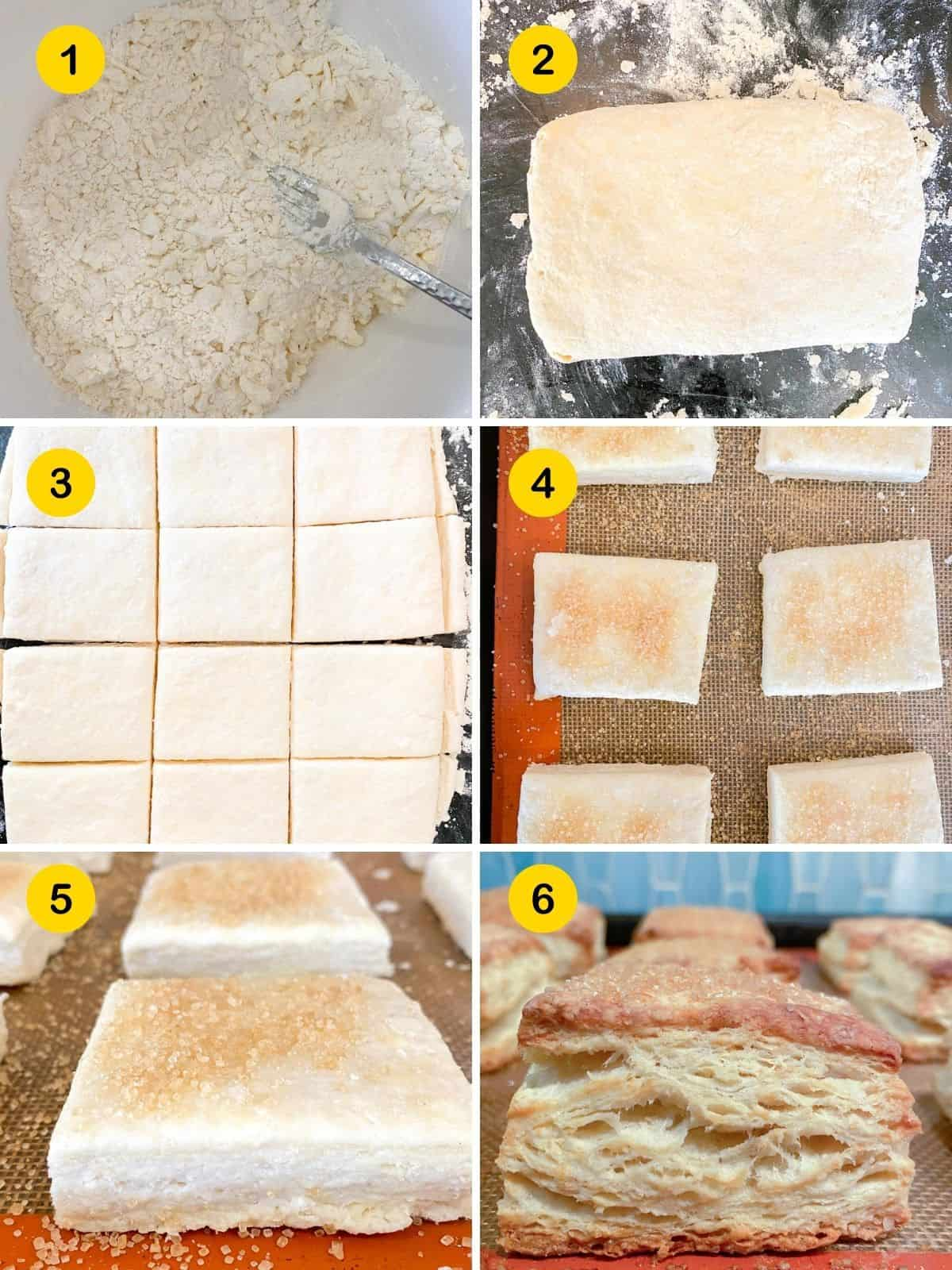 Steps by step instructions for making shortcake biscuits.