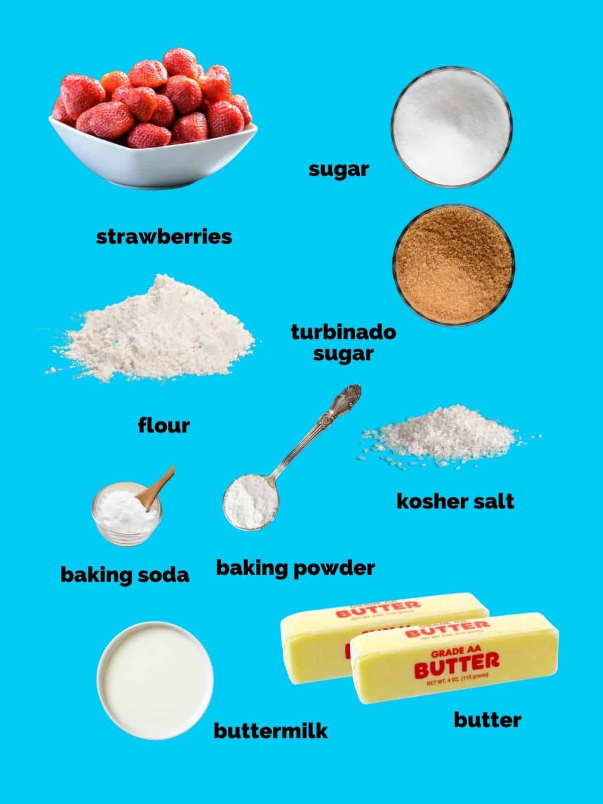 Ingredients needed to make strawberry shortcakes and shortcake biscuits.