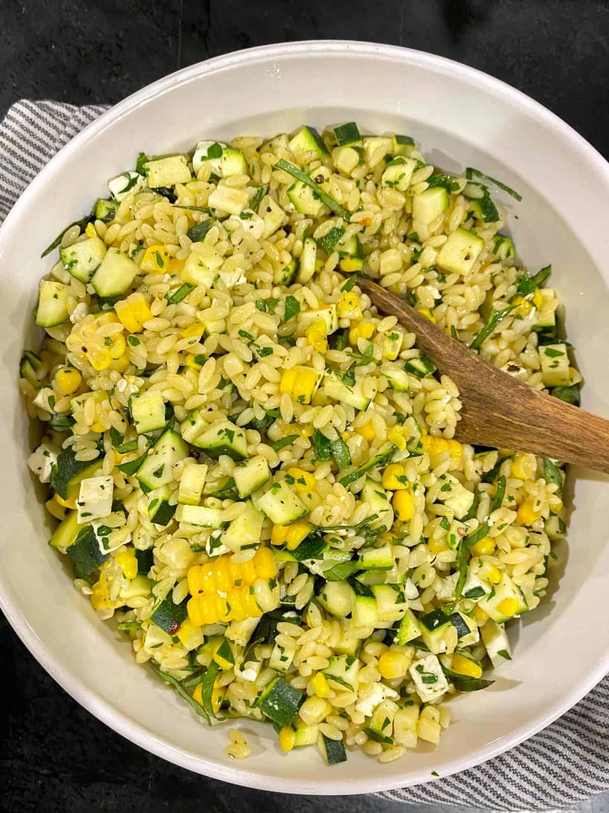 summer orzo salad recipe with feta, corn, and zucchini