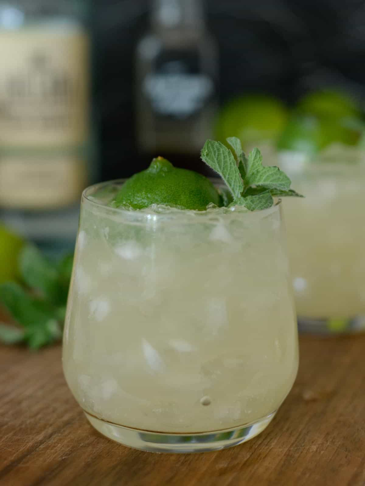 trader vices original mai tai garnished with lime and mint