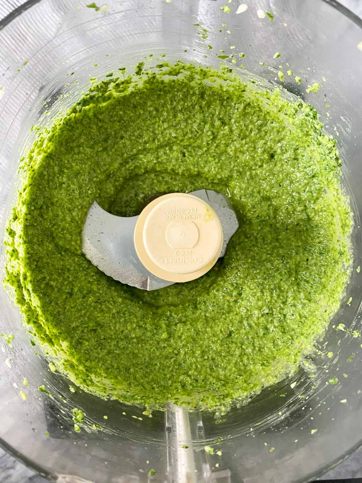 easy pesto recipe after the virgin olive oil is added