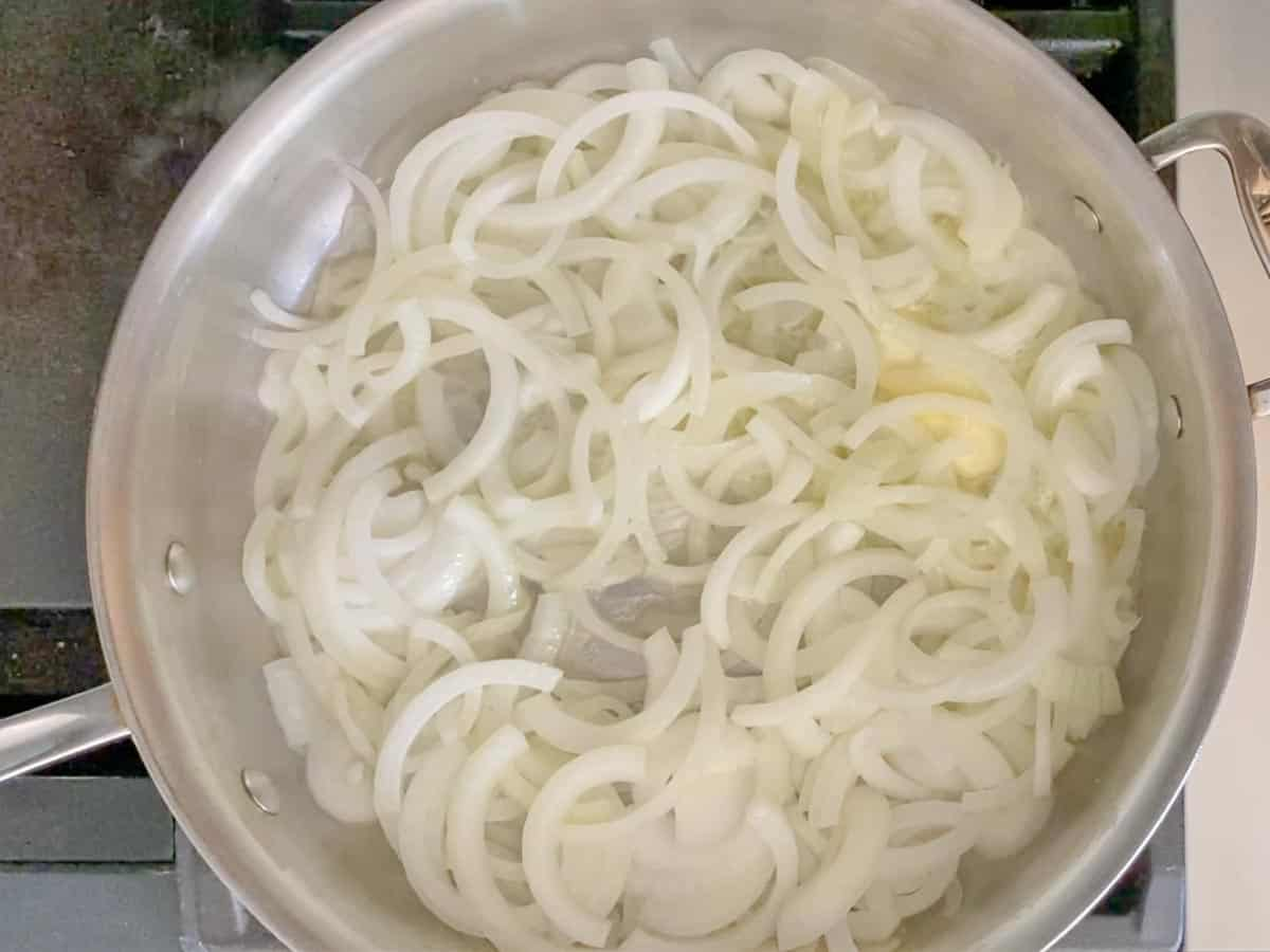 add the onions and the salt to the pan