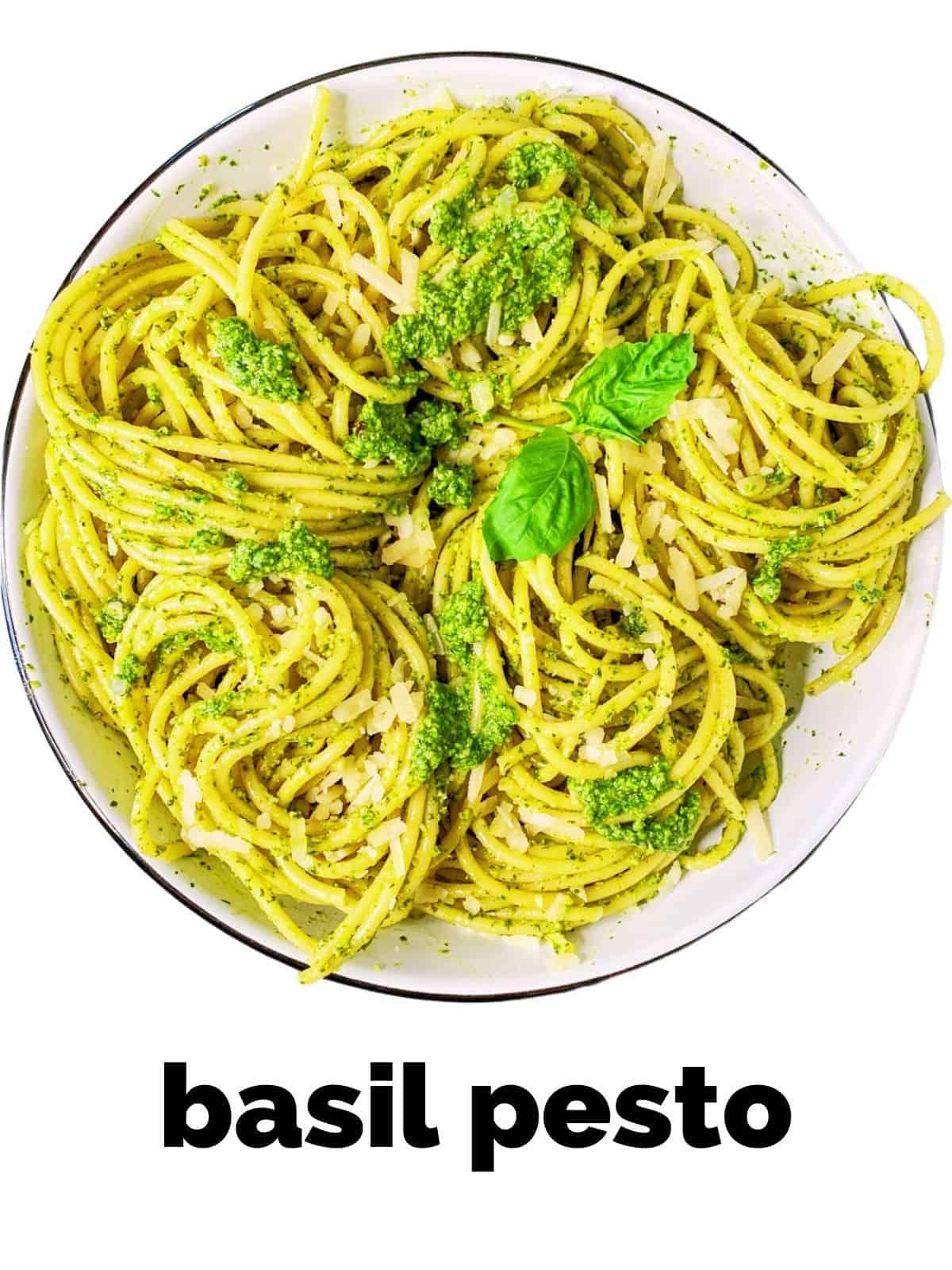 homemade basil pesto in a white dish