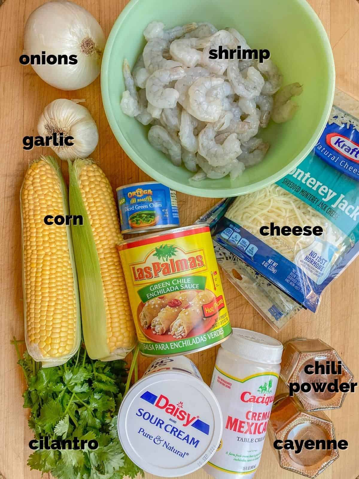 ingredients needed to make a seafood enchiladas recipe