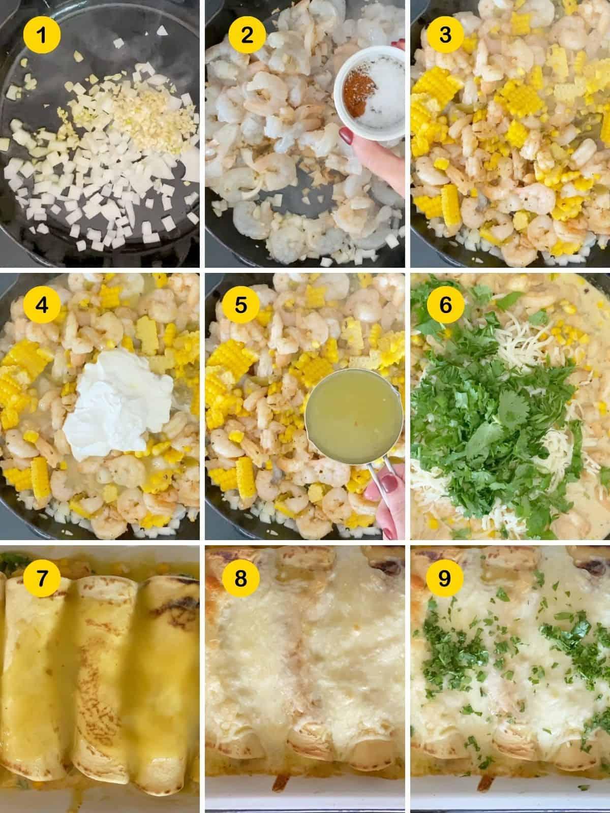 steps for making shrimp enchiladas