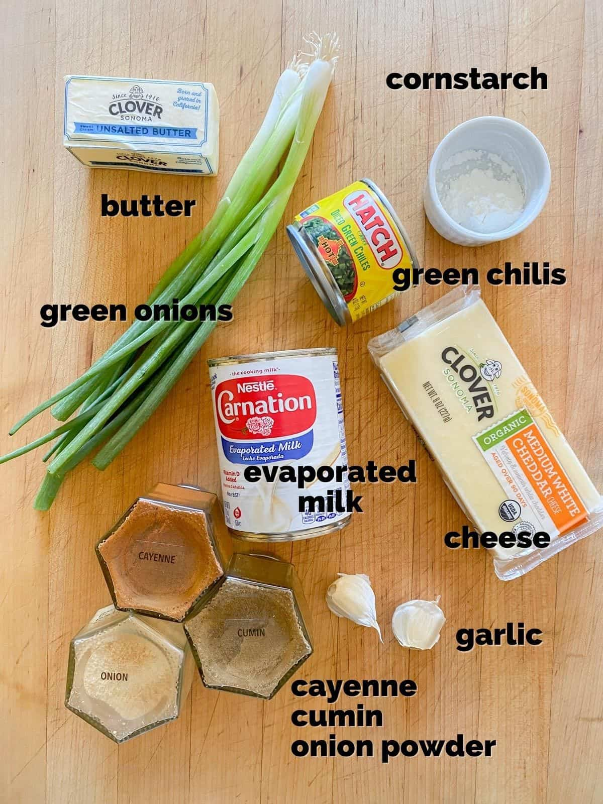 ingredients for homemade queso dip