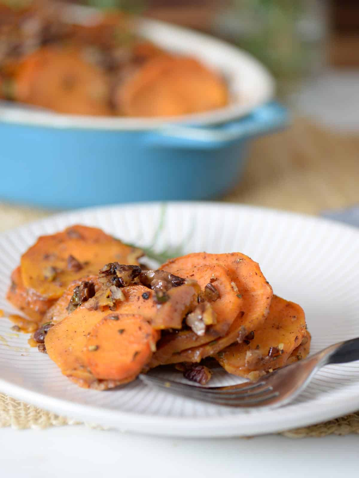 serving of roasted sweet potatoes and toasted pecans