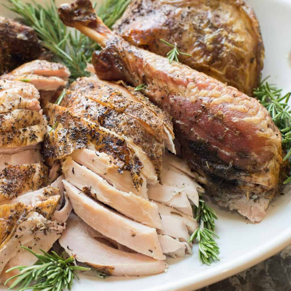 spatchcock turkey on a platter